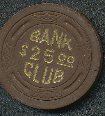 Bank Club Searchlight NV 1st Issue $25 Chip  1946-1951 R6