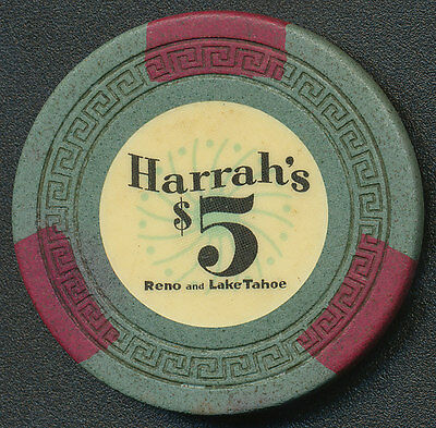 Harrah's Reno and Lake Tahoe $5 Chip Gray/Grn SM-KEY 1960's