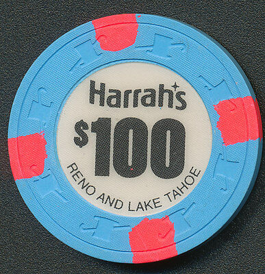 Harrah's Reno and Lake Tahoe $100 Chip Blue H&C 1970's
