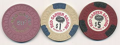RED GARTER WENDOVER 1ST ISSUE .50, $1, and $5 CASINO CHIPS 1981 HORSHU