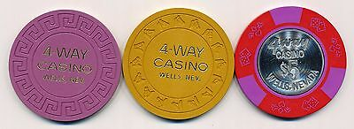 4-WAY Casino Wells $1, $5, and $5 Chips 1980s