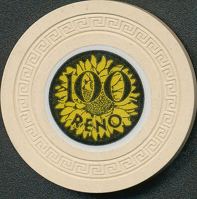 Sunflower Casino Reno $100 Casino Chip 1949-1950 R5