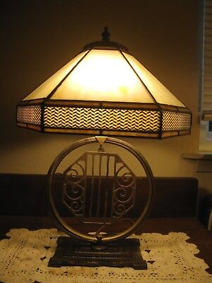 Antique CRUCET Octatogn Sculpture Table Lamp Tulip Slag or Stained Glass Shades