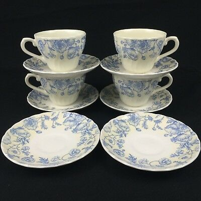 4 Cups 6 Saucers Churchill Fine English Tableware Blue Flowers Cream Swirl Edge & CHURCHILL FINE ENGLISH Tableware Staffordshire Blue Willow 14 1/2 ...