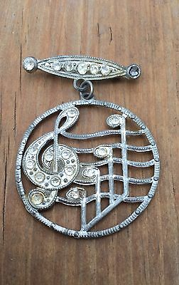 Vtg Early 1900s Art Nouveau Clear Paste Rhinestone Bar Brooch Pin Music Note