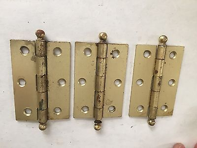 "3 Old Mckinney Brass Plated Steel Cupboard Cabinet Door Ball Tip Pin 3"" Hinges"