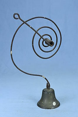 Antique PRIMITIVE ARCHITECTURAL METAL & BRASS COUNTRY STORE SPRING DOOR BELL HTF
