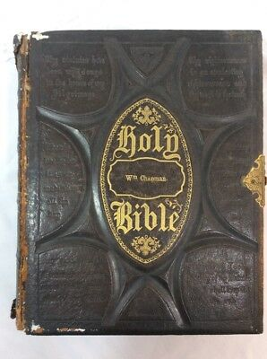 Antique Hand Tooled Leather Illustrated Polyglot Bible W.E Bliss & Co. 1873