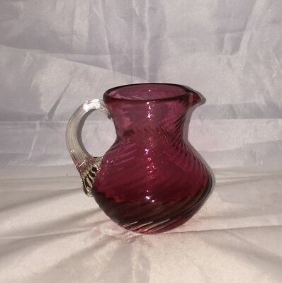 Pilgrim Art Glass Creamer Pitcher Cranberry Swirl Applied Clear Ribbed Handle