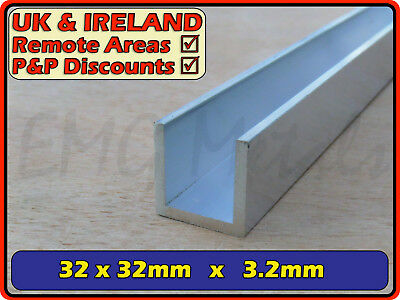"Aluminium Channel (C U section, gutter, profile,ally,alloy)| 32x32 mm (1.25"")"
