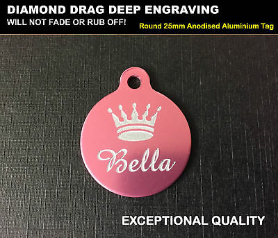 Pink Crown Princess Pet Name ID Identity Tag Disc For Girl Female Dog Cat Puppy