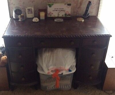 9 Drawer Antique Wooden Desk with Chair