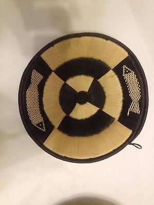 New African Basket Round Display Tray Exquisite Hand Woven Raffia Natural