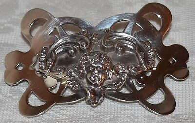 Stunning Antique Lg Art Nouveau STERLING SILVER Cherub Brooch by UNGER BROS RARE