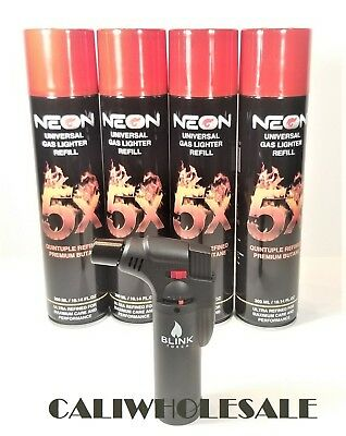 NEON 5X BUTANE 4 CANS + 1 Blink TORCH LIGHTER