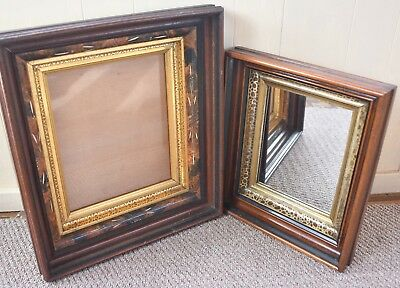 Two Antique Victorian Eastlake Shadow Box Frames, Gold Gilt 3 1/2 inches Deep