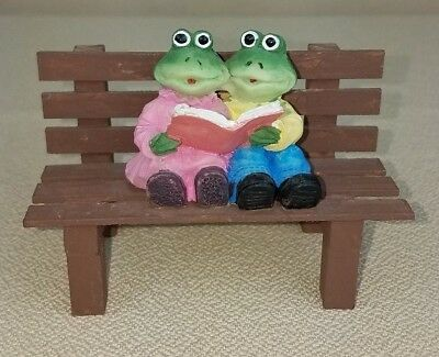 Vintage Frog Figurine Two Frogs Sharing Reading Book on Bench Ceramic Wood