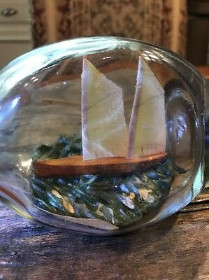 """Antique 5"""" Long Glass  Ship In A Bottle Rounded Bottom"""