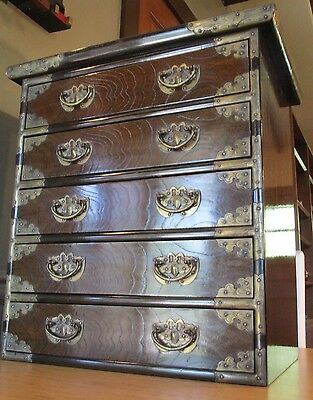 Vintage Asian Tansu Paktong Small Chest of Drawers Silverware Server Cupboard