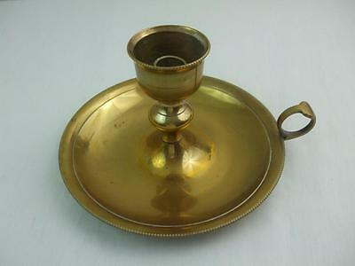 """Vintage Solid Brass Candle Stick Holder Round Drip Dish w Finger Hold Large 8"""""""