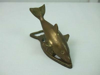 """Vintage solid brass fish dolphin shaped note clip and bottle cap opener 4"""" Long"""