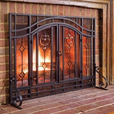 Fireplace Screen Protector Hearth Mesh Two Door Beveled Glass Magnetic Latch