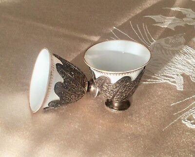 Antique Ottoman Turkish Islamic Silver Cups - Zarf - Tea - Coffee - Demitasse