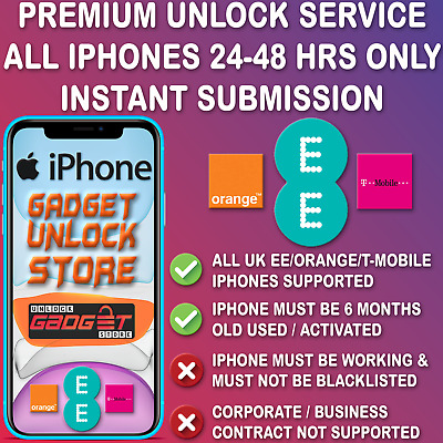 UNLOCK CODE SERVICE FOR iPhone XR XS X 7 6S 6 SE 5S 5C 5 Plus MAX EE T-MOBILE UK