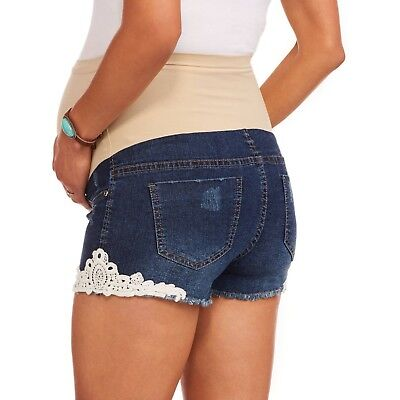 Planet Motherhood Maternity Distressed Shorts With Lace Size Large New