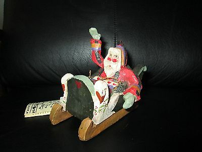 1989 House of Hatten Christmas Ornament Santa in a Sled Sleigh Enchanted Forest
