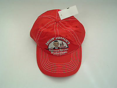Rare retro smilin Charlie's  delivery service budweiser  beer hat red NWT