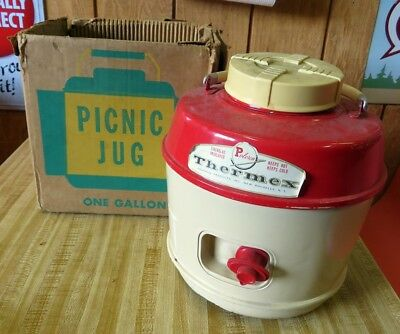 Vintage Poloron Thermex 1 Gallon Picnic Jug Original Troubled Box