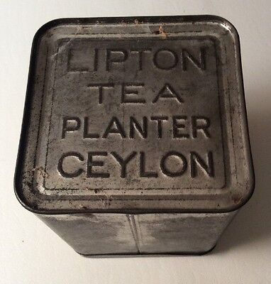 Old Lipton's Tea Tin Vintage Lipton Planter Advertising Antique Kitchen Metal Ad