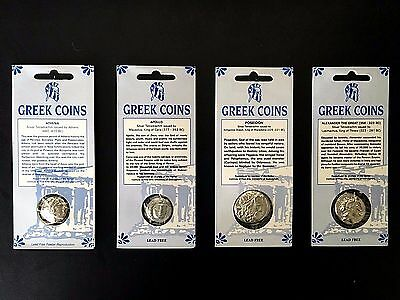 Set of 4 Two-Sided Ancient Greek Coin Replicas •Educational Resource• FREE SHIP