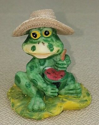 Frog LilyPad Cutting Watermelon Wide Brim Hat Figure Green Ceramic Summer VTG