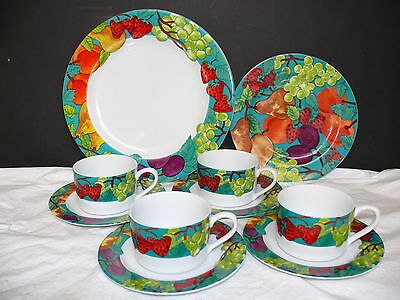 Vtg Lot 10 Pieces American Atelier Delicious Fruit 4008 China Dishes Plates Cups