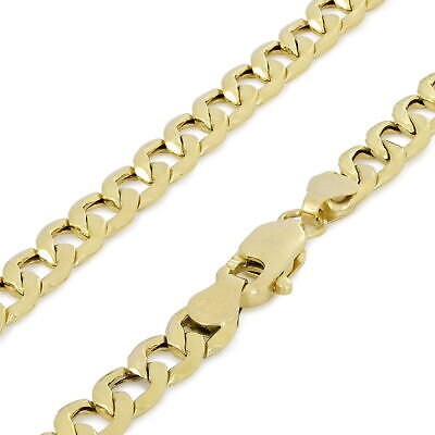 14K Yellow Gold 4MM 24in Italy Curb Chain Cuban Link Necklace Lobster Clasp 24""