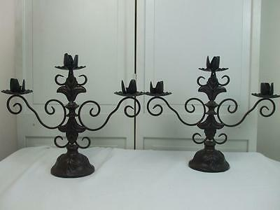 Pair French Fleur de Lis 3 Arm Candle Holders Candelabra Brown Black Iron 17x14""