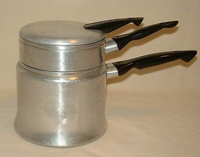 Vintage & Rustic MIRRO 4 Cup Double Boiler Aluminum Pans With Cover 1 & 1/2 Qts