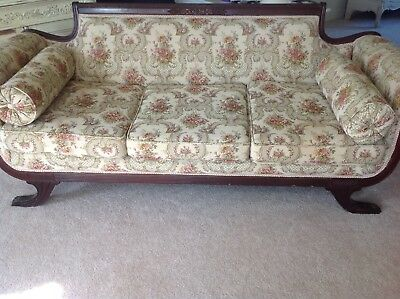 Vintage Antique Duncan Phyfe Carved Solid Wood Claw Foot Couch Sofa