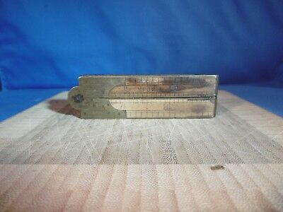 Vintage Wood Working Stanley #32 Boxwood and Brass Folding Ruler 12""