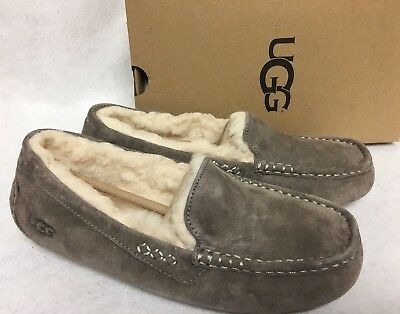 580fc2bc95b UGG AUSTRALIA ANSLEY Slate Suede Moccasin Slippers Slip On Shoes size Women  3312