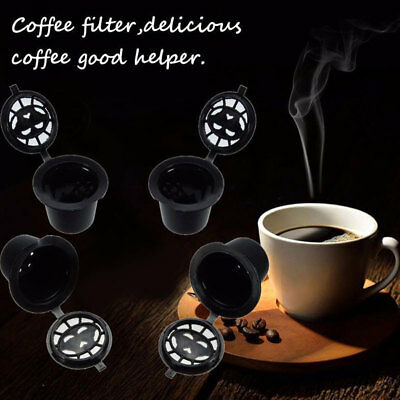 4pcs Refillable Reusable Coffee Espresso Capsules Pods Machines Filter Cups Tool