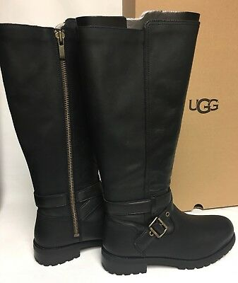 UGG Australia HARINGTON TALL Black WATER RESISTANT BOOTS 1019071 Belt Buckle