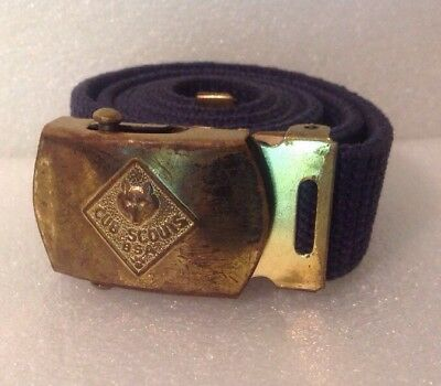 """Vintage 32"""" Official Cub Scouts Blue Belt And Buckle Made In USA  Solid Brass"""