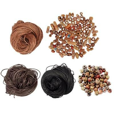 Assorted 200Pcs Painted Pattern Beads Wooden Loose Beads & Waxed Cotton Rope