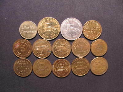 Car Wash Tokens Collection -(14) Different Carwash Tokens Coins Included In Lot