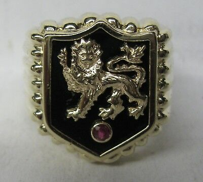 Large & Heavy Mens 10K Solid Gold Onyx & Ruby Lion Shield Ring Sharp & Wide
