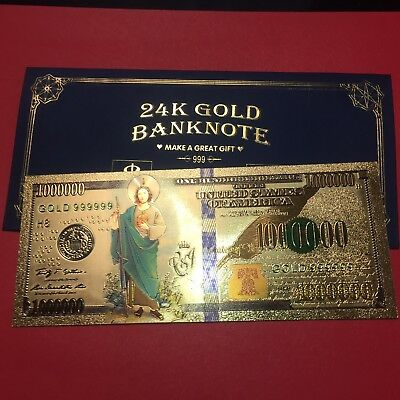 St. Jude Thaddeus New Collectible 24k Gold Foil Banknote For Great Gift