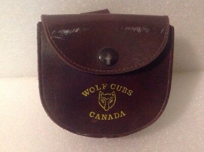 Vintage Wolf Cubs Canada Leather Belt Pouch w/ Belt Loop